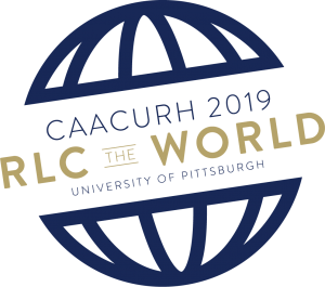 RLC Logo. CAACURH 2019. RLC The World. University of Pittsburgh.