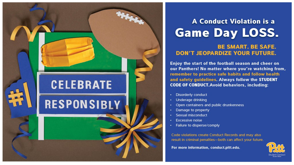 A conduct violation is a game day loss. Be smart. Be safe. Don't jeopardize your future. Celebrate responsibly.