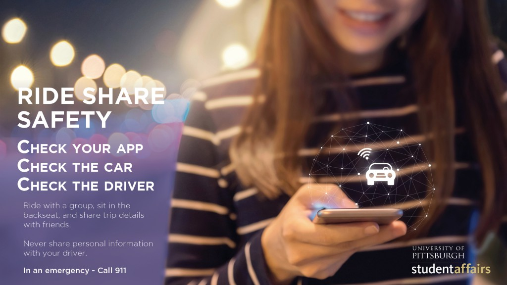 Ride Share Safety. Check your app. Check the car. Check the driver. Ride with a group, sit in the backseat, and share trip details with friends. Never share personal information with your driver. In an emergency call 911.