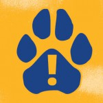 Paw print with exclamation mark