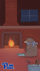 Bear in a cabin with fireplace