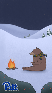 Sketch of a bear wearing a scarf sitting by a campfire
